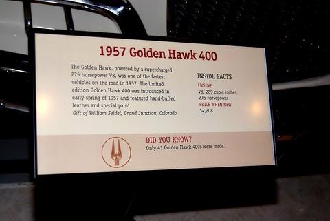 1957 Studebaker Golden Hawk 400 - sign